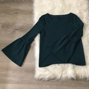 NWOT Ann Taylor Teal Flare/Bell Sleeve Blouse